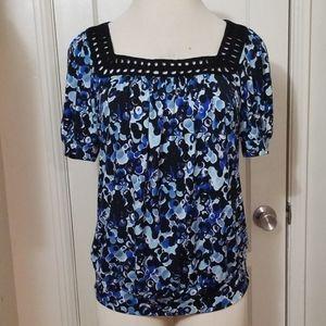 HARVE BENARD black blue floral square neck blouse